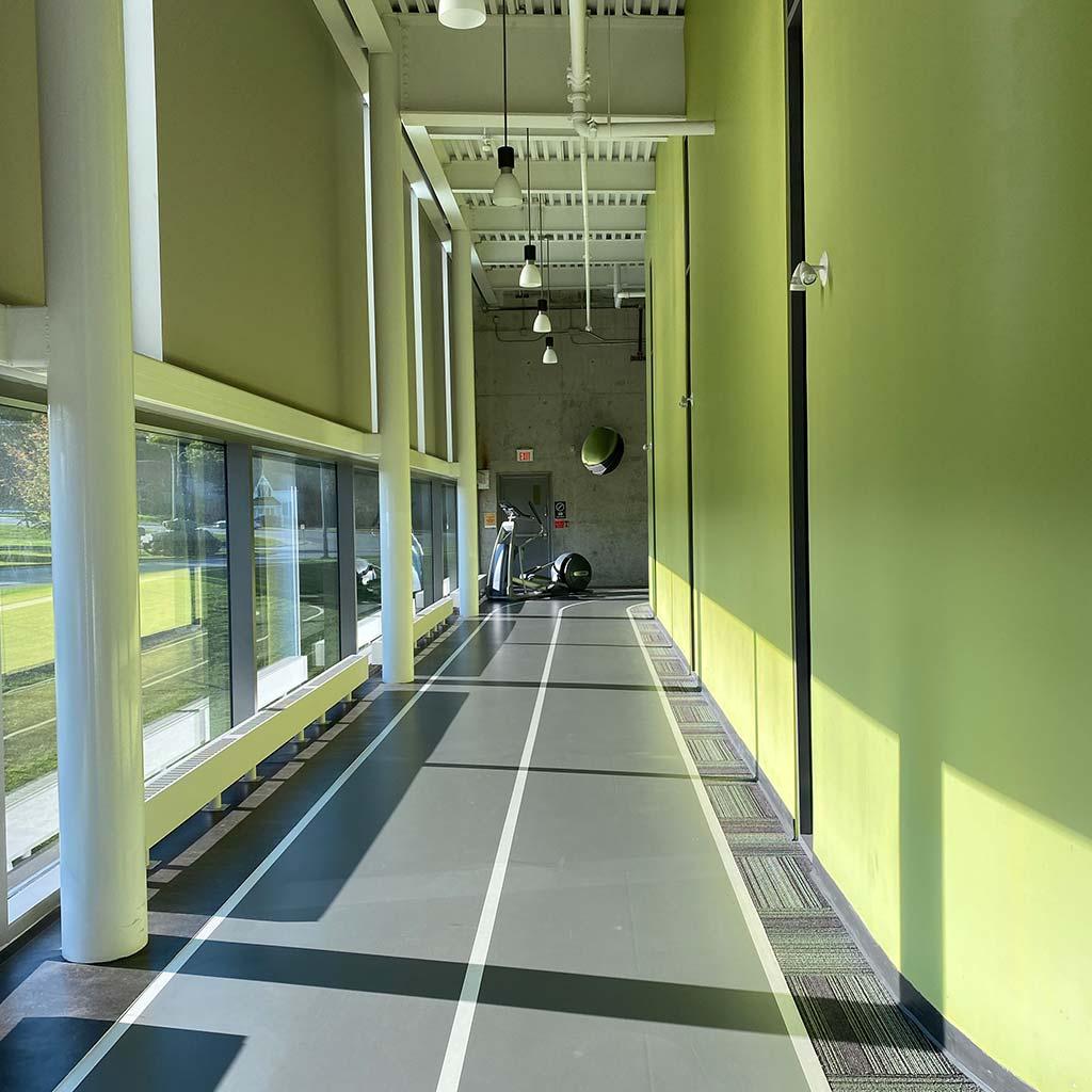 Walking track in YMCA of Owen Sound Grey Bruce Health, Fitness & Aquatics facility