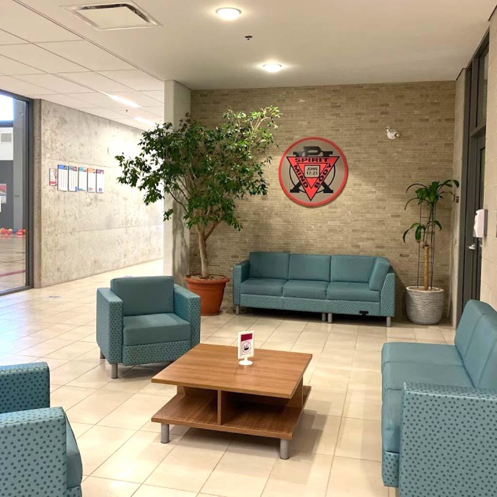 Seating area in YMCA of Owen Sound Grey Bruce Health, Fitness & Aquatics facility