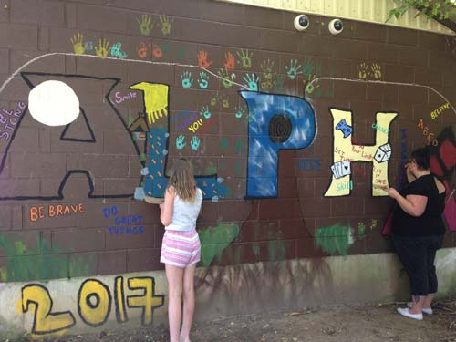 YGAP community members painting a mural in Owen Sound